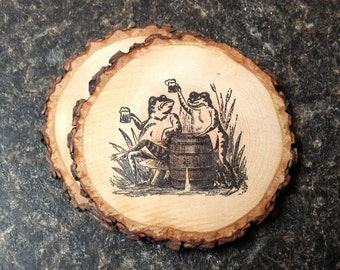 Drinking Frogs Handcrafted Natural Wood Coaster Set of 2