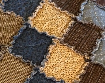 Country Rag Quilt – Blue, Cream, Brown, Gold, Yellow, Burgundy – Throw Rag Quilt – Primitive, Star, Flower - Handmade - Ready to Ship