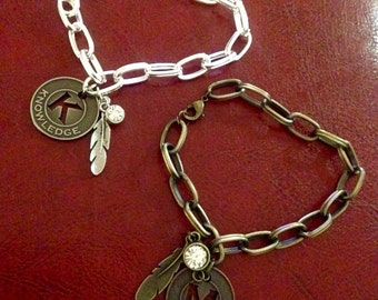 Knowledge and memory chain link bracelets