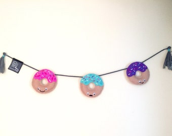 Wall decoration, Donuts, made hand, handmade banner, child's bedroom, baby, baby crib