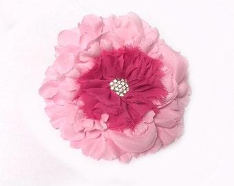 """Pink Fabric Flower, Pink and Hot Pink Flower Embelishment, 4"""" Pink and Hot Pink Flower With Rhinestone Center, Headband Flower Applique"""