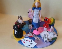 Classic Tales, Alice in Wonderland, tiny toothpick doll diorama/paperweight, bookshelf decoration