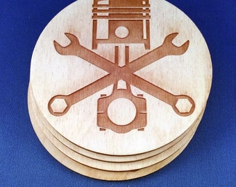 Piston and Crossed Wrenches Wood Coasters set of 4