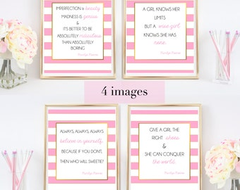 LOWEST PRICE on Etsy!  4 Marilyn Monroe Quotes - Printable Art / Poster with Gold Foil - Pink and White Stripe Print Typography | Fashion
