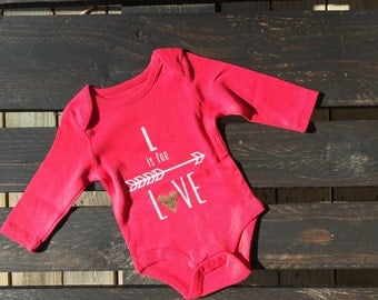 L is for LOVE with arrow Onesie