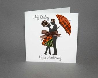African Fabric/Ankara/Wax Print Birthday Card - Embrace Anniversary