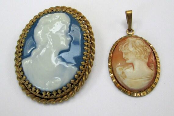 Vintage/Deco rolled gold & carved shell cameo pendant + large Limoges brooch