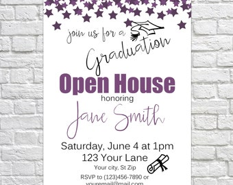 Customizable Graduation Open House Invitation, Graduation Announcement, Senior Picture, Gradutation Party, Class of 2017, Choose your color