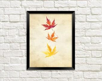 Fall Leaves Printable Art Print, Watercolor Fall Leaf, Autumn Leaf Print, Fall Printable, Home Decor, Download