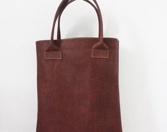 Simple brown leather shopper, genuine leather bag, minimal bag