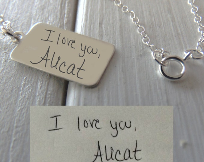 Handwritten Silver Charm Necklace - YOUR HANDWRITING - or text, Sterling Silver - Perfect For Layering -Jewelry For Her -