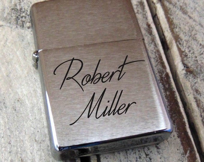 Brushed Zippo Personalized - Choose Font or ACTUAL HANDWRITING - Gift for Dad - Military - Perfect Groomsmen Gift - Sentimental Zippo
