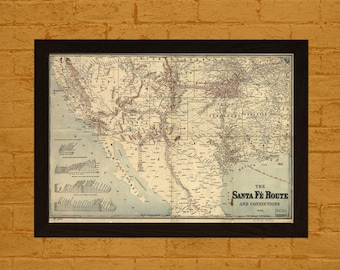 Printed on textured bamboo Art paper - High Resolution Map Of Santa Fe Route 1888 Vintage Map  Art Antique Map Poster Old Map Santa Fe Map