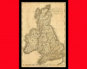 Printed on textured bamboo Art paper - Old United Kingdom Map 1812 Ancient Map  Art Antique Map Poster  Old Map Map Of England Map Ireland