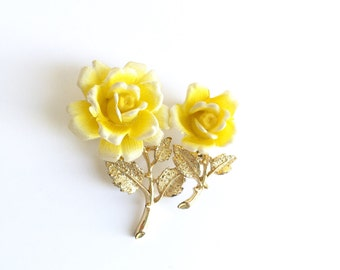 Vintage Pair of Plastic Yellow Rose Brooches