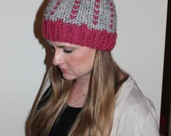 knit hat with pom pom.