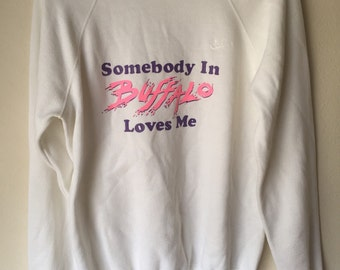 Vintage 80s Nike Somebody In Buffalo Loves Me Unisex M Oversized Sweater Pullover