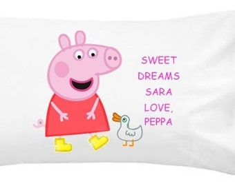PEPPA PIG Personalized Pillowcase with Peppa Pig Kids pillowcase, kids/teen/adult personalized pillow case gift