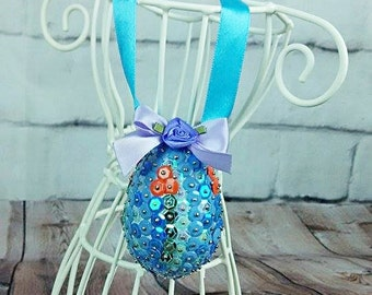 Sequins Easter Egg - Mix blue 5.5cm