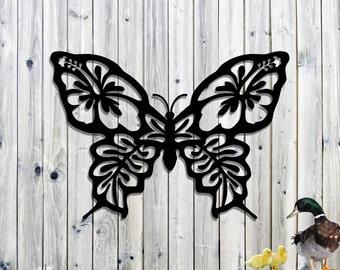 Beautiful Hibiscus Butterfly Yard Art - Metal Yard Art - Steel Sculpture Hand Made Garden Art