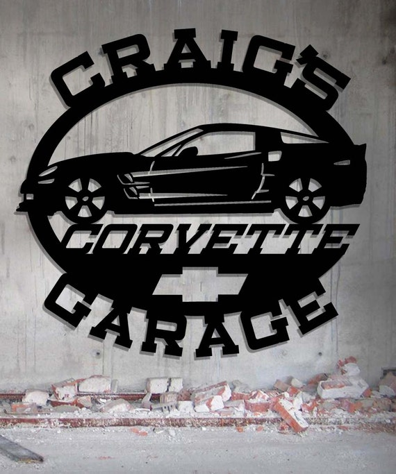 Personalized Garage Signs For Automotive : Corvette garage personalized metal sign wall art