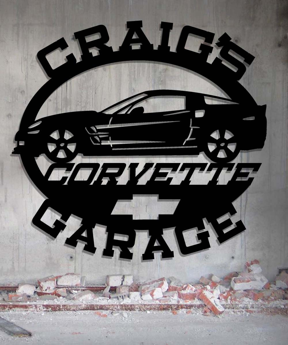 Garage Signs Decor : Corvette garage personalized metal sign wall art