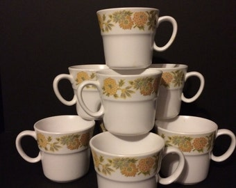 Vintage Noritake Progression Sunny Side Cups Set of 8 Green Yellow Gold Floral