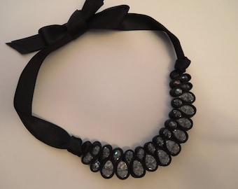 Black ribbon and shiny crystal necklace