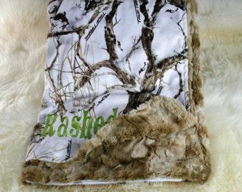 Baby Boy Blanket , Minky Camo Blanket, Personalized Baby Gift, Crib Blanket, Stroller Blanket, Baby Shower Gift