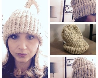 Cozy Oatmeal Knit Hat