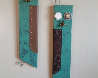 Green Wall Art, Owls, Reused, Recycled, steampunk,