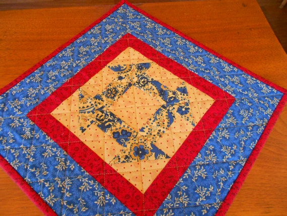 Free Patterns For Quilted Candle Mats : Quilted Candle Mat/Small Quilt Country Colors of by RubysQuiltShop