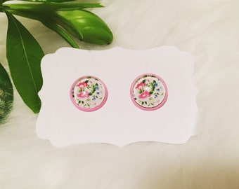 12mm Floral & Pink Earrings