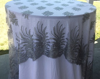 silver lace tablecloth, silver table overlay, lace table overlay, table overlay, table runner, embroidered, 4 way boarder, table cloth