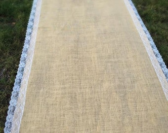 burlap aisle runner, burlap wedding aisle runners, aisle runner, burlap and lace aisle runner, wedding decor, rustic, lace, ivory, SALE