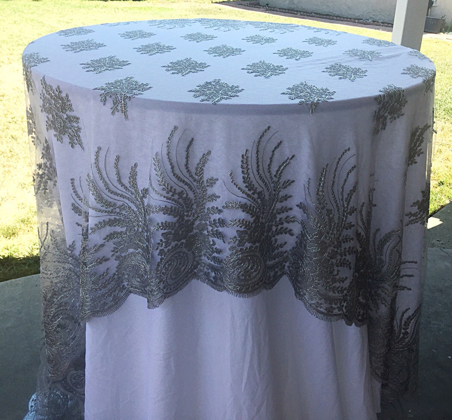 Vintage Lace Tablecloth Silver Lace Table Cloth Silver Table