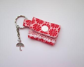 Key chain mini purse retro floral for lunch money