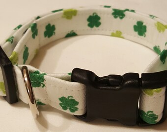 Dog Collar, White Shamrock, St Patricks Day, St Paddys Day, Shamrock dog collar, St Patricks Day Dog Collar, St Paddys Day Dog Collar