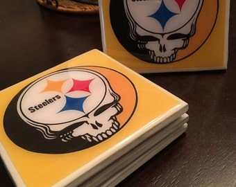 NFL Steelers & Grateful Dead Ceramic Coasters