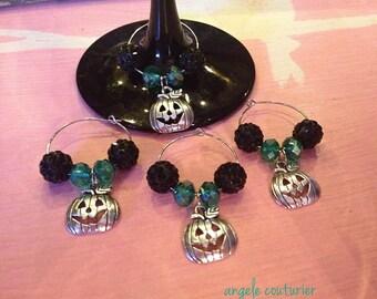 Halloween wine glass charms set of four