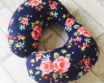 Childrens Neck Pillow, Cushion, Travel Pillow, Neck Rest, Childs Neck Rest, Childs Neck Pillow, Toddler Neck Pillow, Navy Floral, FREE POST