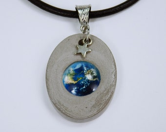 Necklace earth globe blue with Silver Star concrete jewelry unique concrete with cabochon black leather band Concrete jewelry world