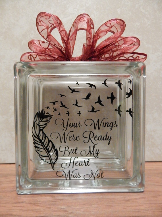 Items similar to memorial glass block with lights your for Glass boxes for crafts