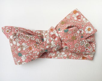 Baby Head Wrap Pink Floral - Bow Headband