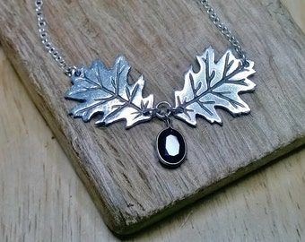 Fine silver oak leaf necklace with black faceted stone