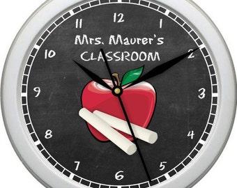 "Classroom Teacher Apple Clock 10"" Personalized Wall Clock Classroom Decor  Teacher Appreciation Gift"