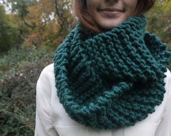 Emerald 100% Wool Knit Circle Scarf