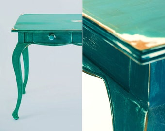 Green Distressed Hand Painted Desk
