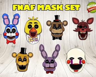 Five Nights at Freddy's masks, Five Nights at Freddy's photo booth prop, 5 nights at Freddy's Party Printables. FNAF mask prop set