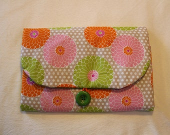 Lily pink and green - Hand-crafted Travel Changing Pad  – Many Designs Available